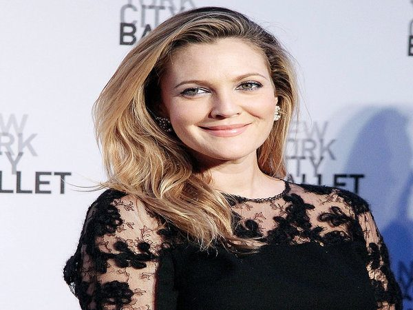 Drew Barrymore Long Straight Dark Hair with Blond