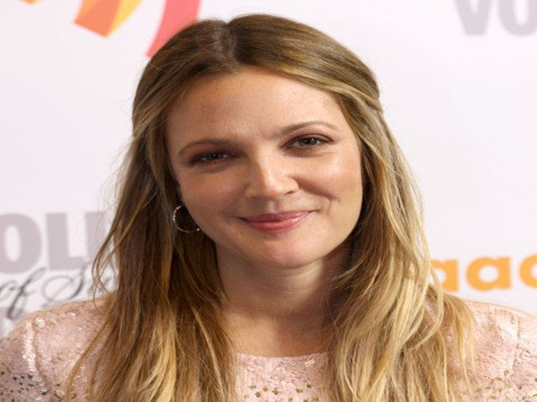 Drew Barrymore Middle Parted Dark Blond Hair