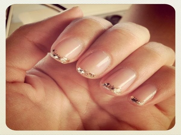 Nude Nails with Gold Glitter Tips