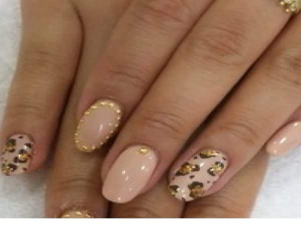 Nude Nails with Gold Dots and Leopard Print
