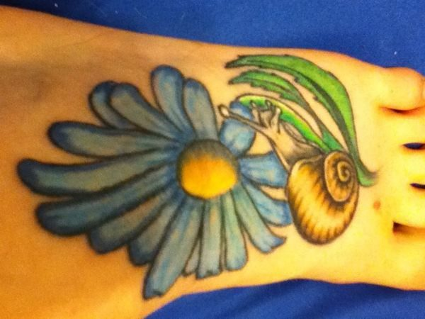 Blue Daisy Colored Tattoo with Snail