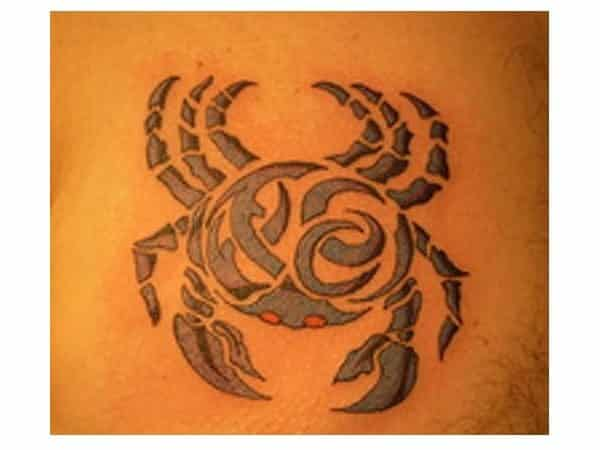 Gray Ink Crab Tattoo with Red Eyes