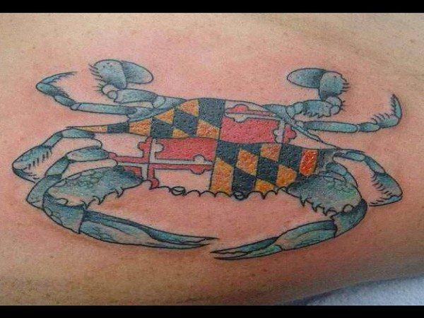 Blue Crab Tattoo With Flag Designs