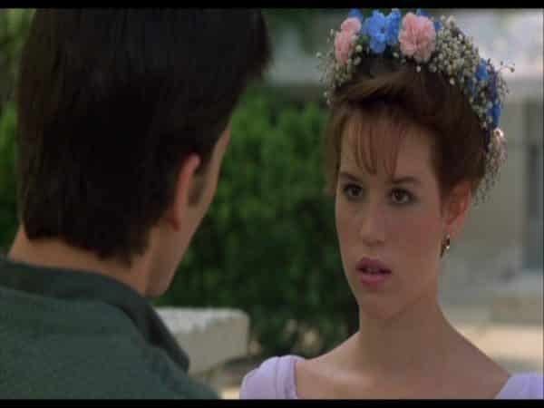 Young Molly Ringwald Brunette Hair with Flowers