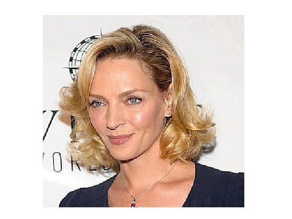 Uma Thurman Wavy Layered Short Hairstyle