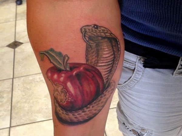Bitten Apple with Cobra Tattoo