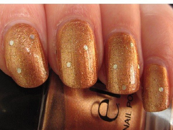 Copper Glitter Nails with Silver Dots