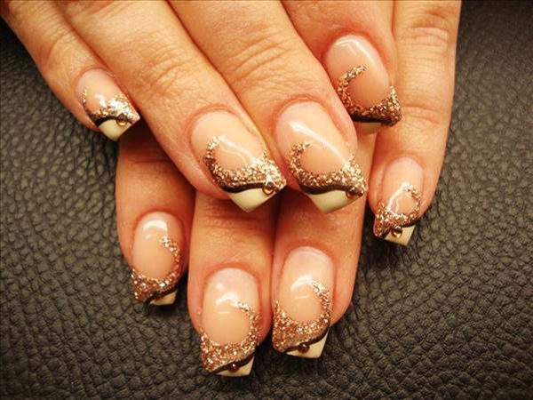 Plain Nails with White Tips and Copper Glitter Swirls