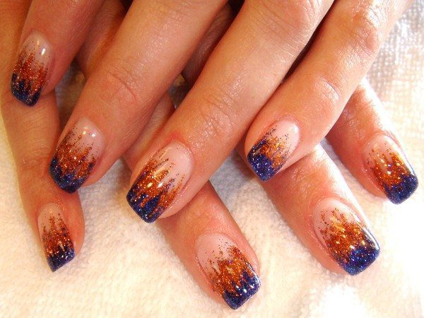 Plain Nails with Copper and Blue Glitter Tips