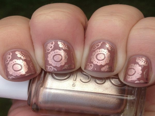 Copper Nails with Circle Lace Designs