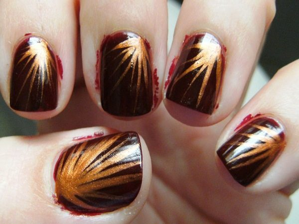 Brown Nails with Copper Explosion Designs