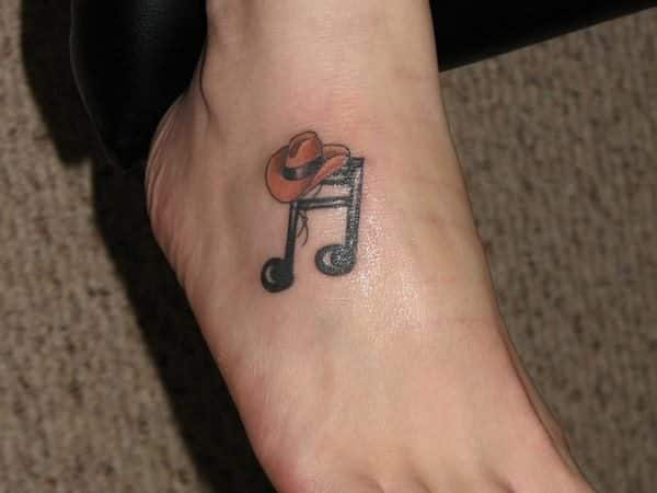 Cowboy Hat and Musical Note Colored Tattoo