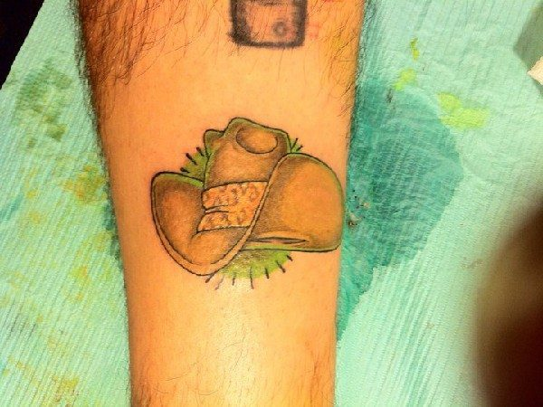 Colored Cowboy Hat Tattoo