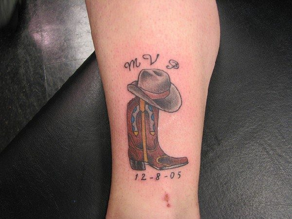 Cowboy Hat and Boot Memorial Tattoo
