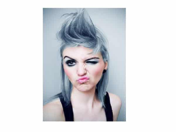 Short Grey Hair with Tall Spiked Bangs