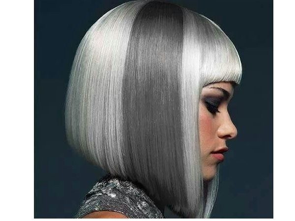 Straight Light Grey Hair with Dark Grey Section and Bob Style