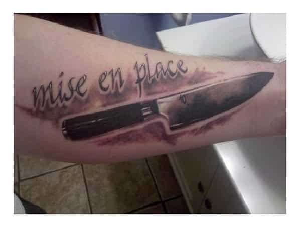 Mise En Place Butcher Knife Arm Tattoo