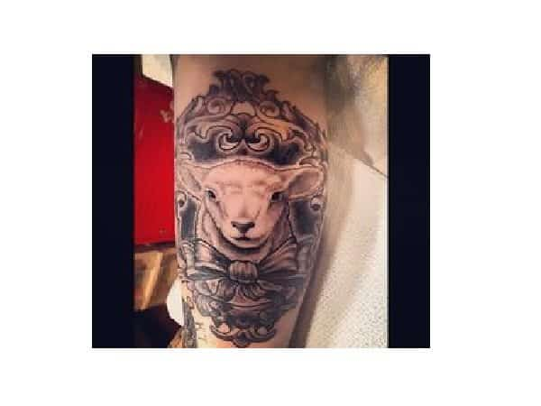 Fancy Lamb in Frame with Bow Tattoo