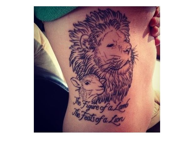 Lion and Lamb with Words Tattoo