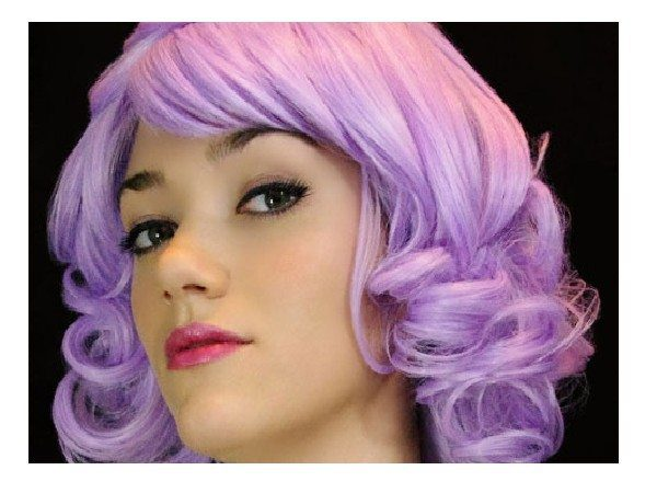 Lavender Short Curly Bob Hairstyle