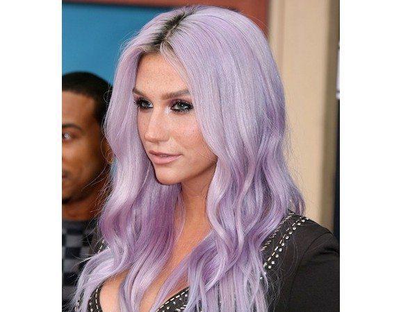 Long Middle Parted Lavender Hair with Light Waves