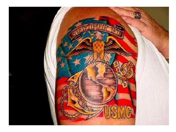 Colored Marine Corps Tattoo with Eagle, the World, and Flag