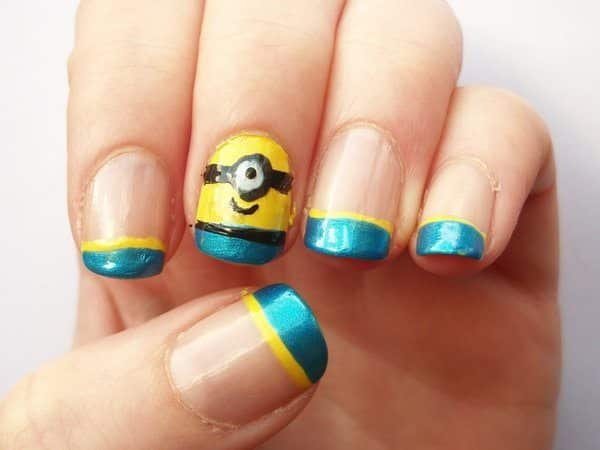Plain Nails with One Minion Nail, and Blue and Yellow Tips