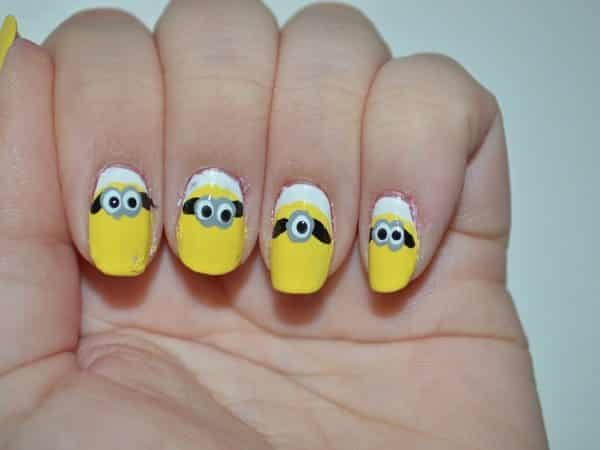 Yellow Minion Nails with White Cuticles