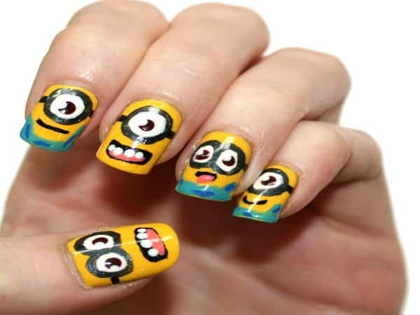 Minion Nails with Blue Tips