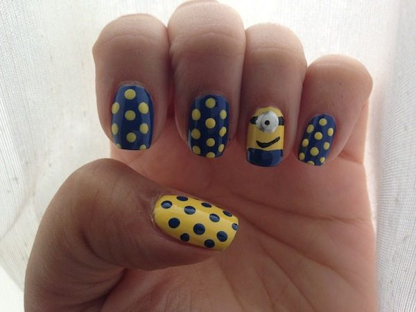 Blue and Yellow Nails with One Minion and Blue and Yellow Polka Dots