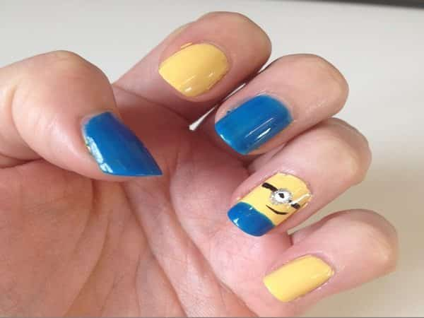 Two Blue and One Yellow Nail with Blue Tip and One Single Minion Nail