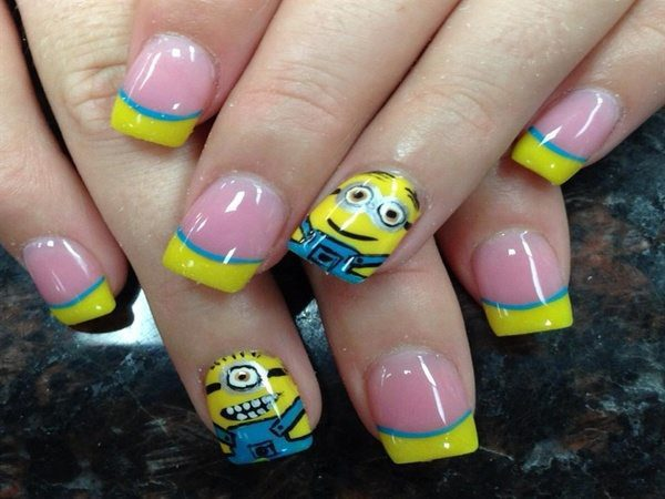 Pink Nails with Yellow Tips, Blue Stripe, and Minion Nails