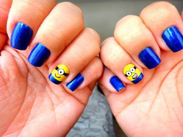 Dark Blue Nails with Minions