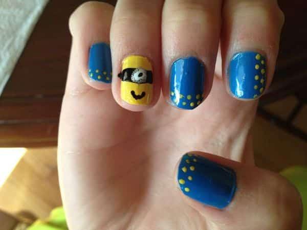 Blue Nails with Yellow Dots and One Minion Nail