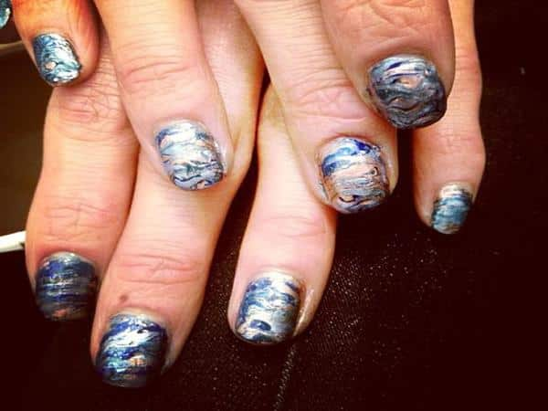 Multicolored Mother of Pearl Nails