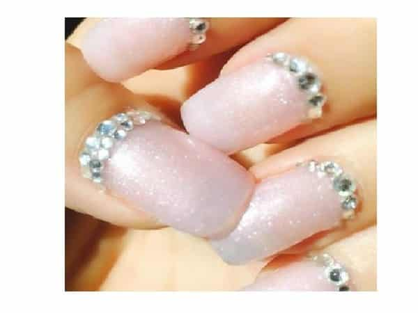 Mother of Pearl Nails with Rhinestones