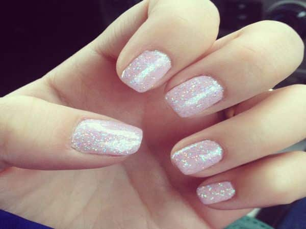 Glitter Mother of Pearl Light Pink Nails