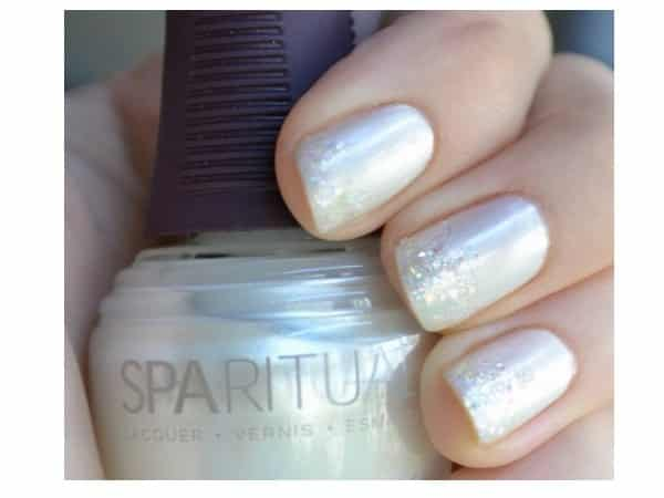 Classic Mother of Pearl Nails with Glitter