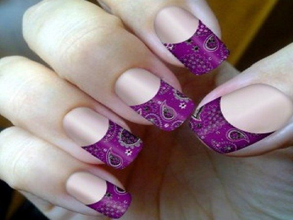 Plain Nails with Purple Paisley Tips