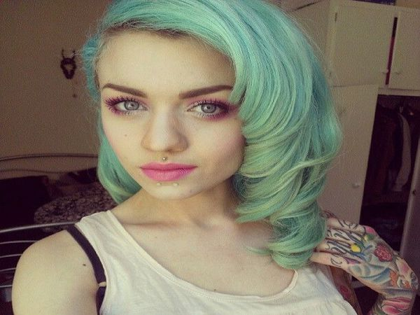 Pastel Green Shoulder Length Curly Hair