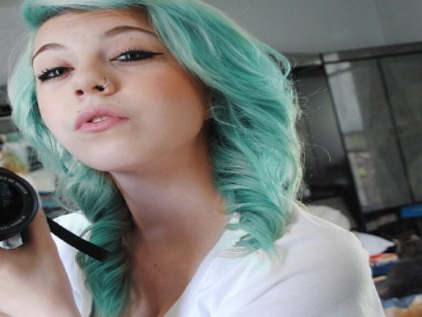 Long Pastel Green Wavy Hair