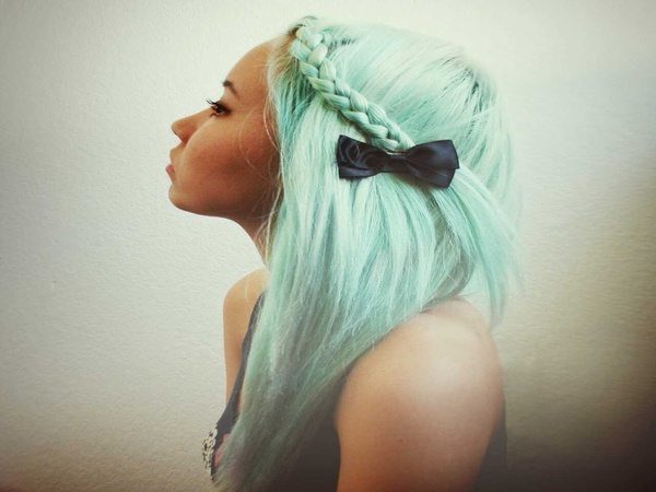 Long Straight Pastel Green with Braid