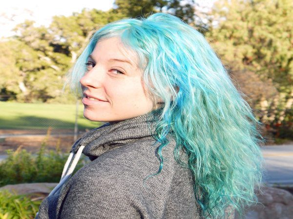 Long Curly Pastel Green Hair