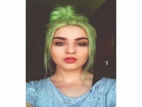 Pastel Green Bun Hairstyle