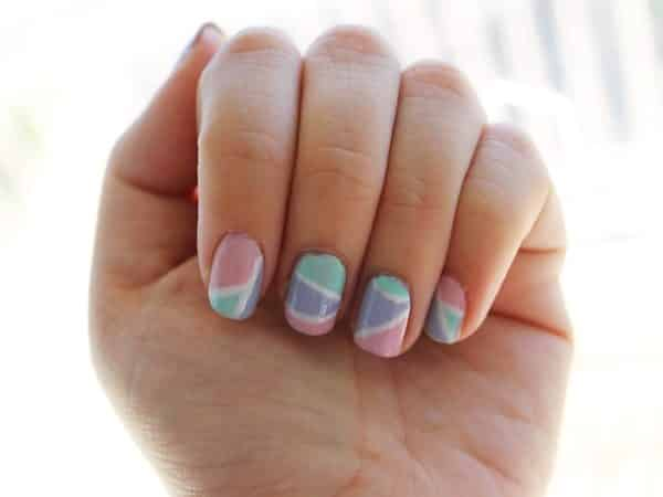 Pink, Purple, and Turquoise Nails with White Lines