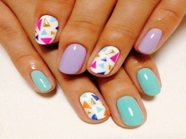 Lavender, Turquoise, and White Nails with Multicolored Triangles