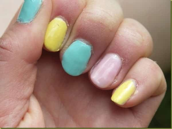 Turquoise, Yellow, and Pink Pastel Nails