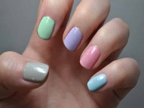 Grey, Green, Purple, Pink, and Blue Pastel Nails