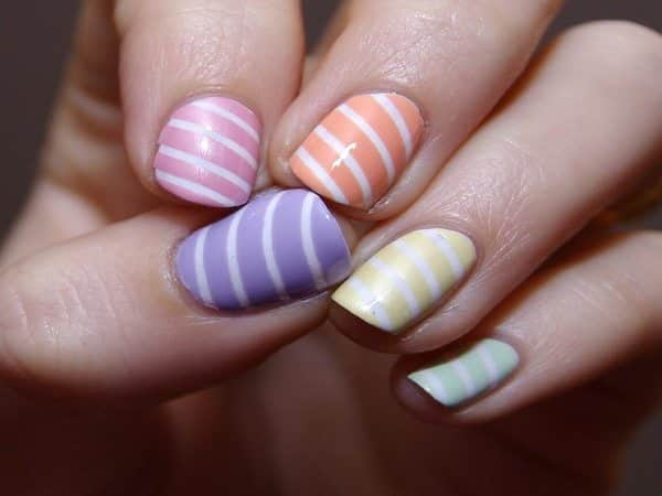 Pastel Colored Nails with White Stripes