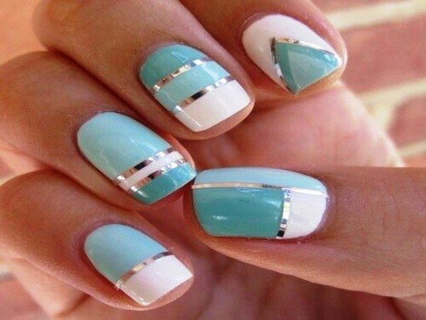 White, and Turquoise Nails with Gold and Silver Stripes